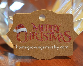 Merry Christmas Customized Hang Tags - Glitter Sparkle White Print - Holiday - Christmas - Winter - Santa Hat | DS0118