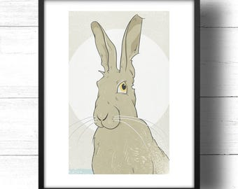 Golden Hare No.3 - A3 Print - Wild Hare with Moon, based on Golden Ratio / Golden Section and Fibonacci Sequence