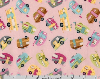 Pink Mini Retro Campers Quilt Fabric, Timeless Treasures Gail C5417 Pink, Glamping, Vintage Campers, Travel Trailer Fabric, Cotton Yardage