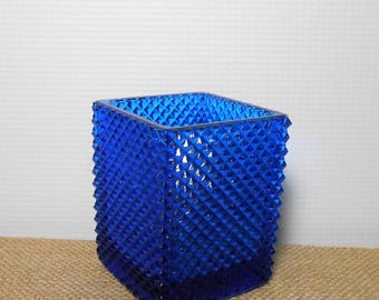 Vintage Candle Holder, Blue Glass, Tea Light Holder, Votive Holder, Cobalt Blue, Votive Cup, Square