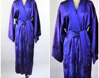Iridescent Blue and Purple Silk Kimono Style Robe Backed Brocade Purple with Blue Designs Size Medium to Large