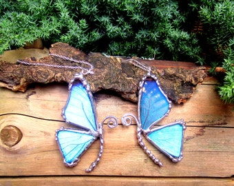 Mother Daughter Friendship Necklace, Blue Morpho Butterfly, BFF
