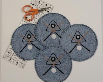 Billiard Coasters, Denim Coasters, Pool Coasters, Desk Coasters, Friend Gift, Fabric Coasters, Embroidered Coasters, 8 Ball, Eight Ball