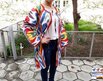 Vintage uzbek traditional women's light jacket robe handmade from 100% cotton ikat fabric