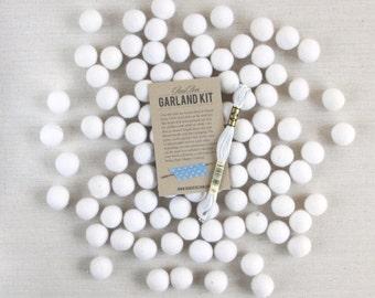 Felt Pom-Poms // White (optional garland kit) // Christmas Garland, Wool Felt Balls, White Felt Beads, Wedding Garland, DIY White Pom Wreath