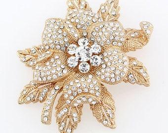 Large Gold Rhinestone Brooch, Bouquet Brooches, Crystal Gold Flower Brooch, Wedding Brooch, Bridal Brooch, Gold Brooches Wedding Crafts