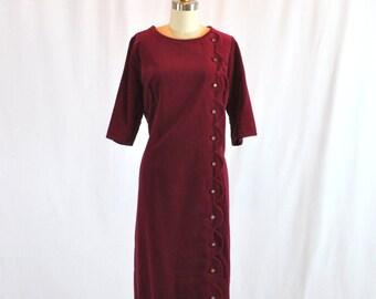 Reserved Vintage 40s Dress Cranberry Red Velvet With Rhinestones Helen Mueller Size XL