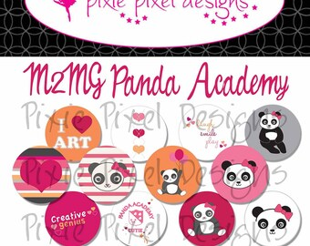 M2MG Panda Academy Bottle Cap Disc-Its Scrapbooking Boutique Digital Collage Art Sheet