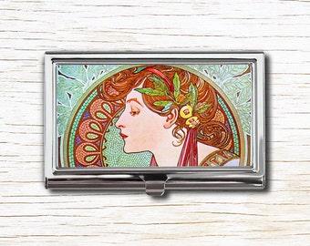 Business Card Case, Alphonse Mucha Illustration, Business Card Holder, Card Case, Card Holder, Alfons Mucha, Art Nouveau, Belle Epoque