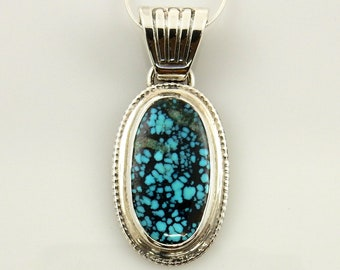 Silver natural turquoise pendant/turquoise silver pendant with chain/blue spiderweb turquoise pendant/indian mountain turquoise pendant