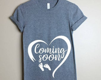 Coming Soon Pregnancy Shirt- Mommy to be- Pregnancy Announcement Shirt- Baby Reveal Shirt-New mom shirt- Maternity Tee- Funny Pregnant