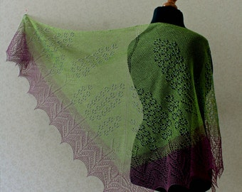 Lace shawl - green and purple lace shawl with blue glass beads