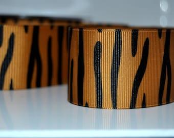 """Tiger Grosgrain Animal Print Ribbon 1.5"""" (38mm) wide, (price per metre)  craft , uk ribbon, trim, sewing supplies"""