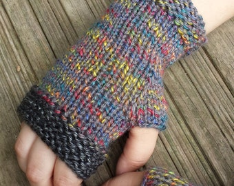 Hand Knit Fingerless Gloves in Gray and Gold - Arm Warmers - Wrist Warmers - ON SALE