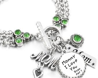 Mom Signature Jewelry, Kids Handwriting, Writing Jewelry, Handwritten Bracelet, Personalized Signature Jewelry, Birthstone Bracelet
