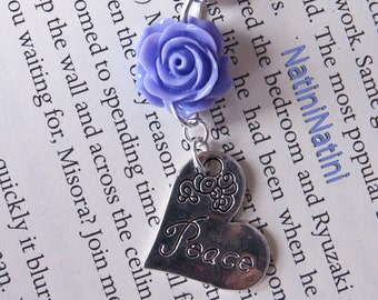 Silver and purple flower peace charm