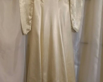 Vintage 40s wedding dress liquid satin wedding dress costume dress prop dress long wedding gown vintage bridal size Small