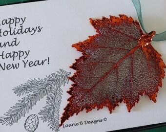 Birch Leaf Ornament Copper Birch Leaf, Birch Leaf Extra Large, Ornament Gift, Christmas Card, ORNA18