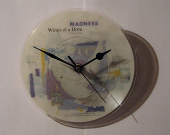 """Madness wings of a dove   7"""" vinyl record clock"""