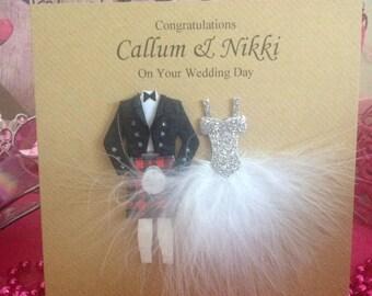 Scottish Wedding Card, Mr & Mrs Wedding Card, Congratulations Card, Congratulations Wedding Day Card,  Couple Bride and Groom, Kilt Wedding