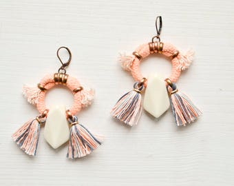 Pink Tassel Earrings, Hoop Earrings, Tribal Earrings, Boho Chandeliers, Abstract Earrings, Rope Earrings, Fringe Earrings, Geometric Earring