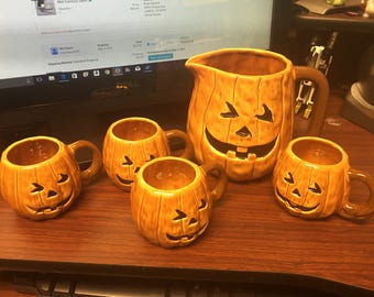 Vintage Brinns Halloween Pumpkin Jack O Lantern Tea Pot Set