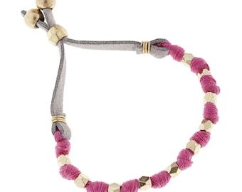 Fabric Slide Bead Bracelets {Pink}