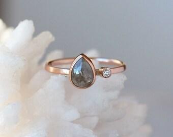 Rose Cut Pear Diamond Ring, Two Diamond Engagement Band, Pear Cut Unique Engagement Ring, Natural Color Diamond, Conflict Free