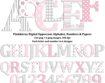Pink grey uppercase alphabet and number clip art set & digital scrapbooking paper- printable digital letters - instant download
