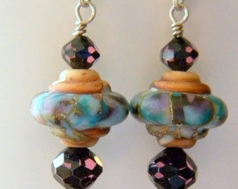 Burgundy and Blue Matte Lampwork Beads with Blue Burgundy Swarovski Crystal Dangle Earrings