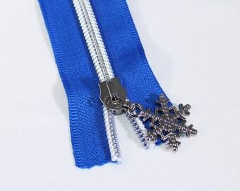 Blue Zipper by the Yard with silver coil & Zipper Pulls, Nylon Metallic Zipper Kit, #4.5 Blue Zipper Tape