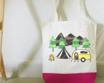 Camping tote bag cream pink or black, cotton bag/ shopping bag/ Gifts tote bag