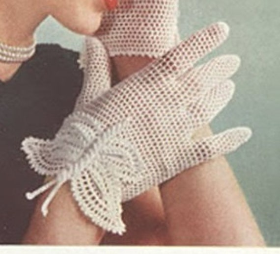 Patron de crochet pdf de tejido sombrero y guantes de 1951