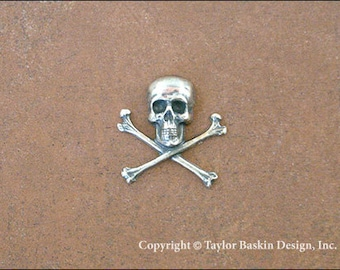 Antique Sterling Silver Plated Halloween Skull and Bones (item 2410-large AS) - 6 pieces