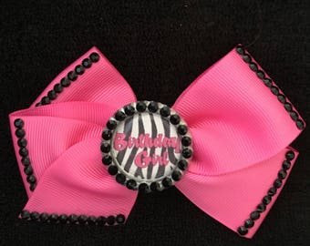 Adorable Pink And Black Birthday Girl Hair Bow