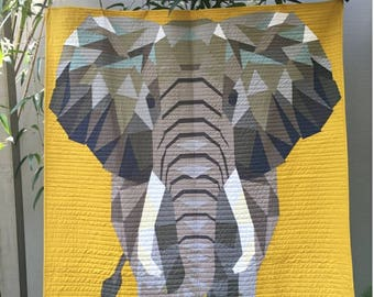 Elephant Abstraction Quilt Pattern Violet Craft 54 x 60 paper pieced quilt
