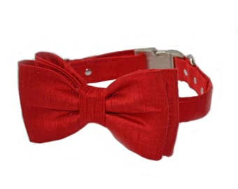 Red Bow tie Dog Collar,  Wedding Red Dog bow, Red Party dog bow