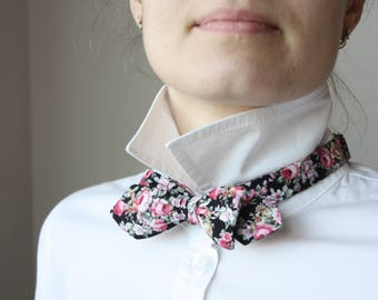 Black and Floral 100%Cotton Women bow tie scarf Camellucci Women bow tie 123C