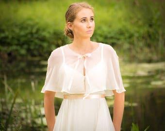 Dainty Bridal Cape - Bridal Capelet - Wedding Cape - Bridal Cape - Bridal Cover Up - Bridal Cloak - Ribbon Bridal Cape