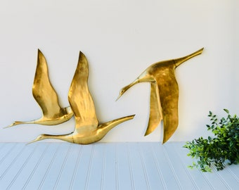 Vintage Large Brass Geese In Flight, Two Brass Geese Wall Hangings