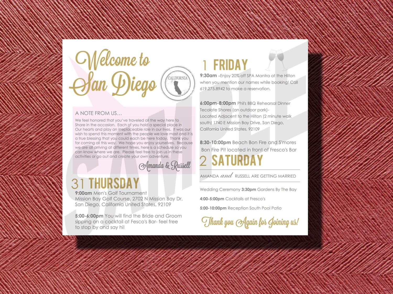 Wedding Weekend Schedule of Events San Diego Destination