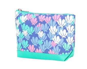 Mer-Mazing Accessory Bag~Preppy Monogrammed Cosmetic Bag~Floral Travel Pouch~Personalized Make Up Bag~ Accessory Bag