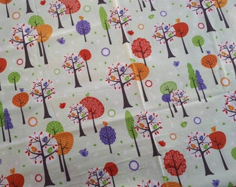 Enchanted Forest cotton by Nutex, pale green, trees, orchard, remnant piece only