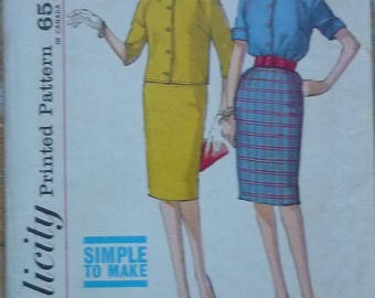 """Vintage sewing Pattern. Simplicity 4820. Blouse and skirt. 1950s. bust 36"""""""