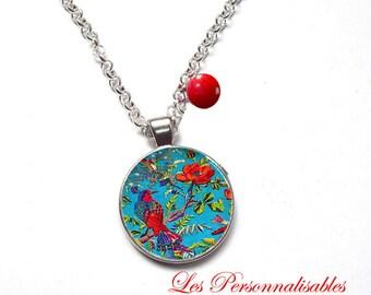 NECKLACE red poppy red bird blue
