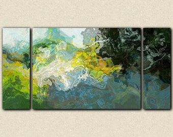 """Abstract landscape canvas print, 30x60 to 40x78 triptych giclee in blue and green, from abstract painting """"On the Road"""""""
