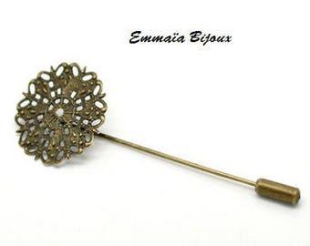 3 fibula pin flower filigree