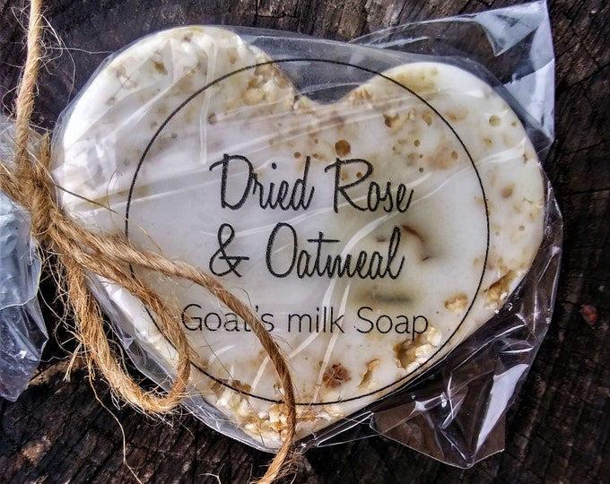 Dried Rose and Oatmeal Goat's Milk Heart Shaped Soap (Set of 3)