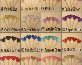 Glitter Heart Cupcake toppers, Party Pick
