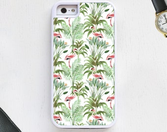 Tropical Flamingo bird cartoon w/feathers on cute green CellPhoneCase protective bumper cover iPhone6 iPhone7 Android s5 s6 s7 note4 note153